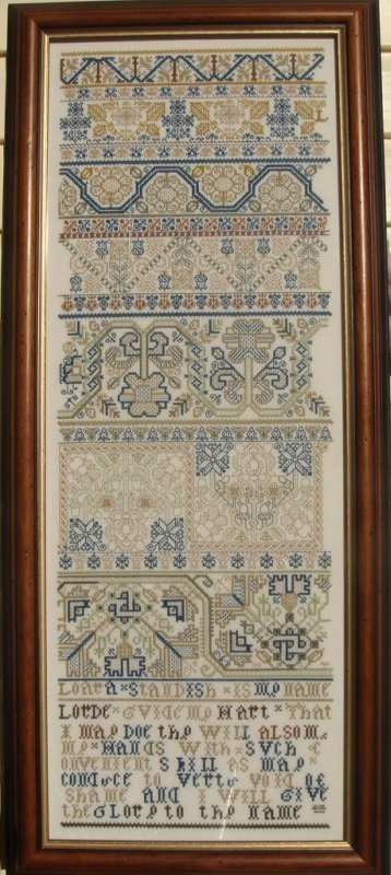 Loara Standish Sampler  In the United States, the earliest known cross-stitch sampler is currently housed at Pilgrim Hall in Plymouth, Massachusetts.[3] The sampler was created by Loara Standish, daughter of Captain Myles Standish and pioneer of the Leviathan stitch, circa 1653.