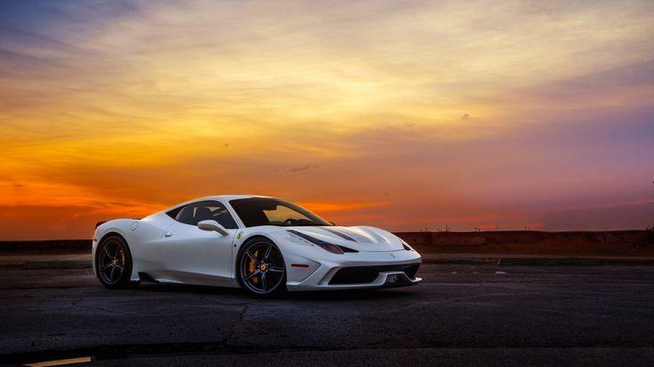 Ferrari Рассветы и закаты Белый Роскошные 458 Italia Speciale Supercar Автомобили