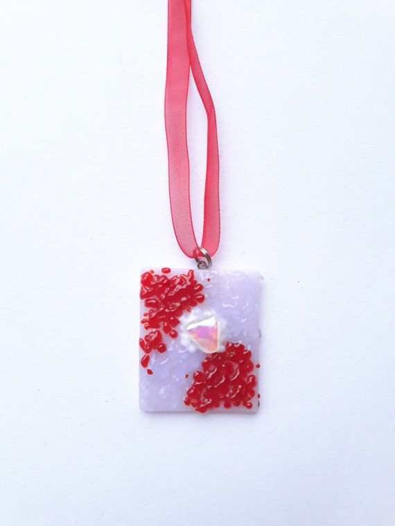 Red-pink dichroic fused glass pendant-Fused by DelabudCreations