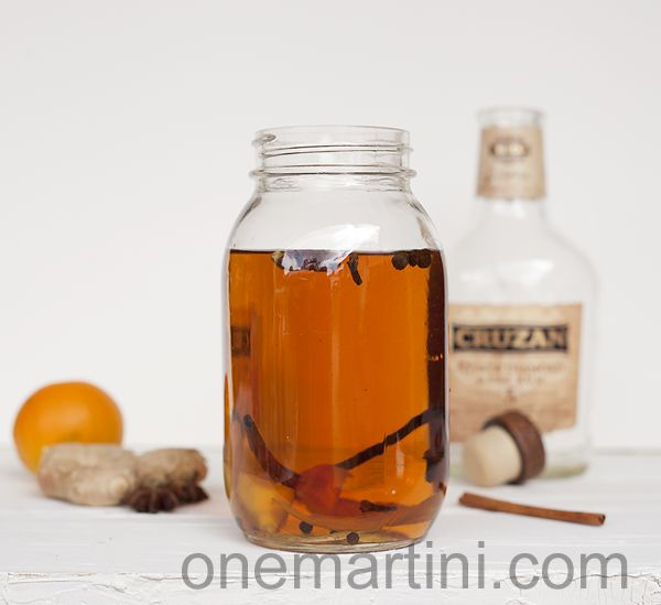 Make your own Homemade Spiced Rum: 750 ml rum 1 cinnamon stick 1/2 to 1 vanilla bean 2 to 4 allspice berries 3 to 4 whole cloves 1/2 to 1 star anise 4 to 6 black peppercorns 1 cardamom pod 1/8 teaspoon freshly grated nutmeg 1 to 2 strips orange zest, white pith removed 1/2 to 1 inch strip fresh peeled ginger