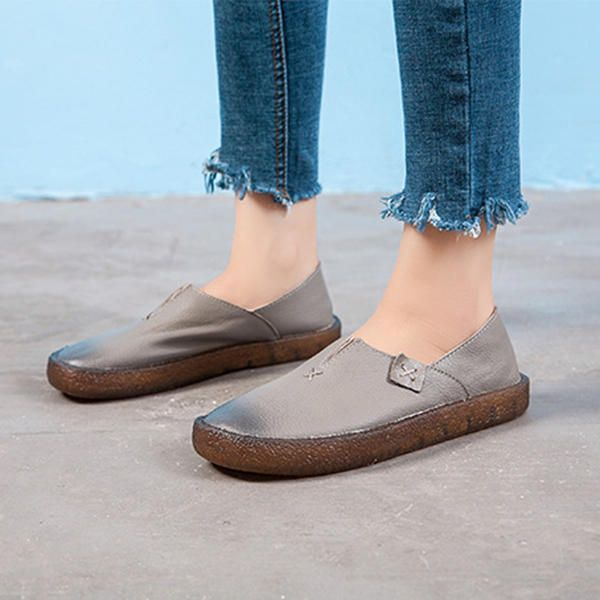 Splicing Leather Handmade Casual Flat Shoes For Women - US$59.96