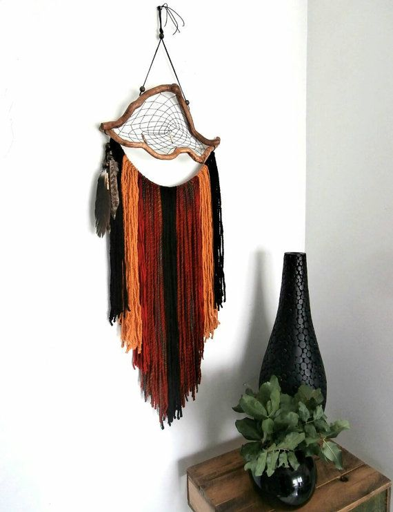 Large dream catcher, yarn wall tapestry, rustic wall hanging, unique bohemian décor, red black yellow garland décor