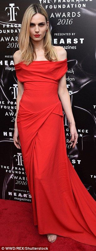 Pretty: Transgender actress Laverne Cox and transgender model Andrea Pejic opted for different shades of red. The OITNB star opted for layers of dark red while the Australian went for a scarlet off-the-shoulder number