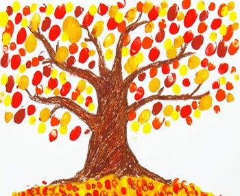 Finger Paint Fall Tree, I recall doing this when I was a kid.  Will have to try this with the Grandbabies