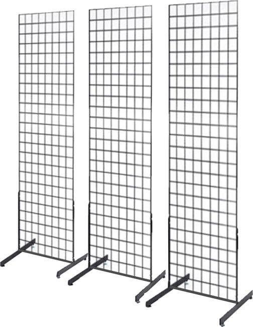 MetropolitanDisplay - 2' x 6' Grid Panel 3-Pack Floorstanding Display Kit with Deluxe Base, Black, $99.99 (http://www.metropolitandisplay.com/2-x-6-grid-panel-3-pack-floorstanding-display-kit-with-deluxe-base-black/)