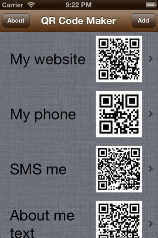 QR Code Maker is an application that is used to create those rectangle codes that you scan with your mobile device - QR codes. This application will create codes for you and than save it for your photo library so you could use it! It is great if you want to promote you product through posters or website. You can create SMS codes, Phone number codes, normal text codes, and websites links.