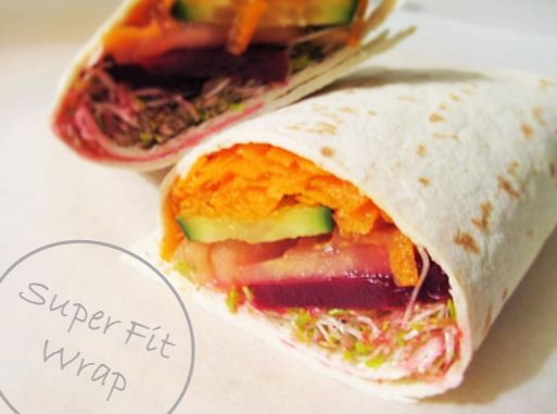 Super Fit Veggie Wrap Recipe -http://handpickedvegan.com/2014/07/19/super-fit-wrap/ Low calorie, Low carb, vegan, dinner, lunch