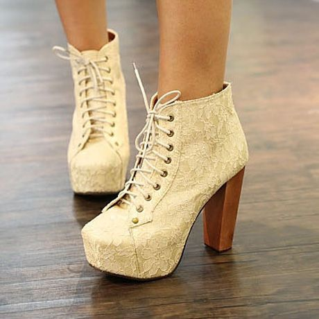 Elegant Chunky Heel Lace Design Apricot Ankle Boots