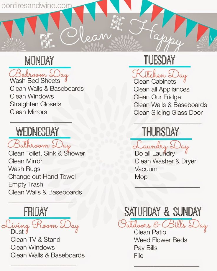 Free Printable cleaning schedule that includes a reminder to pay bills! #cleaningschedule