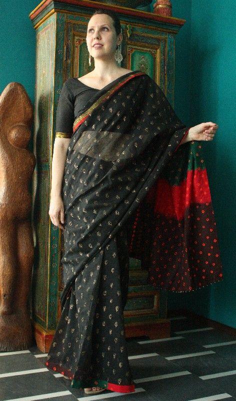 Sari indiano nero e oro http://diwalistore.it/sari-indiani/sari-indiano-nero.html
