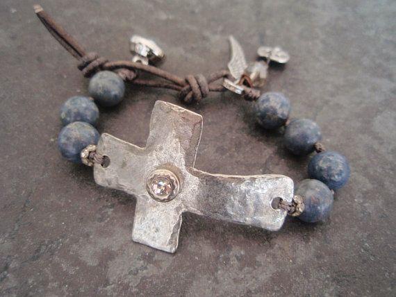 Sideways cross bracelet 'Sacrifice' denim steel blue by slashKnots