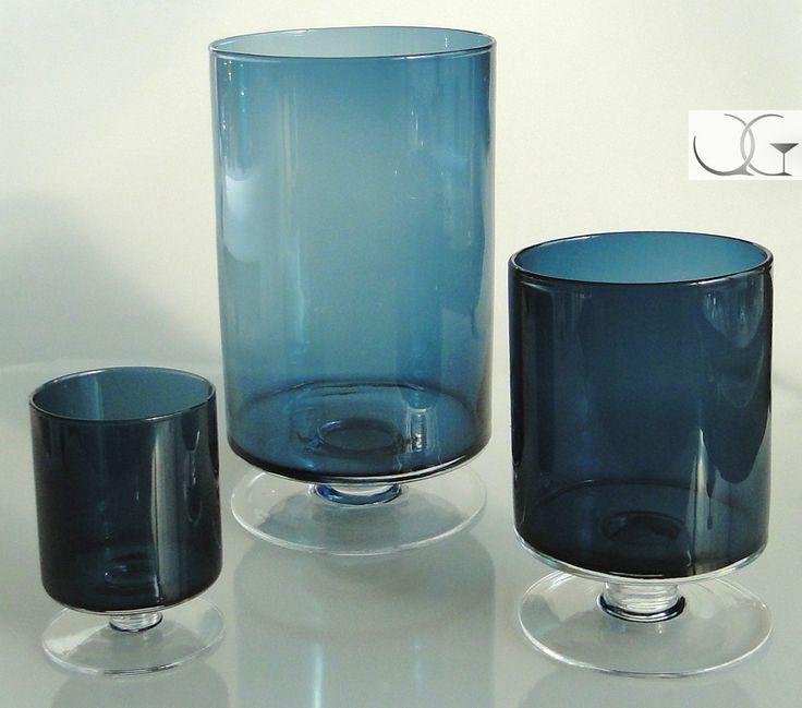 Świecznik szklany Błękitny walec h-23