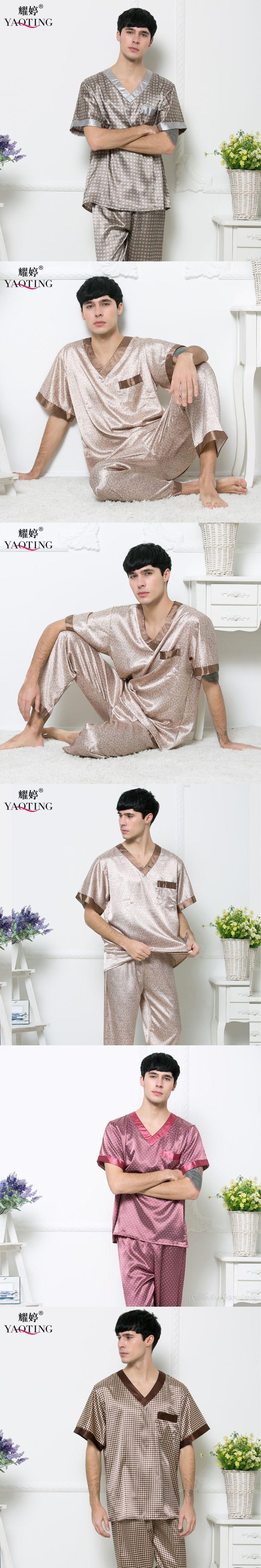 Men Elegant Retro Plus Size V-neck Homewear Summer Short Sleeve Summer Nightgown Imitation Silk Pajama Set Coffee Silky Bathrobe