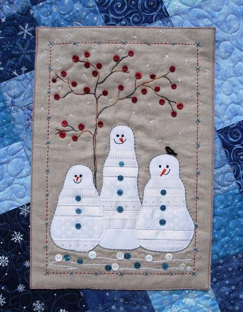 Snowman quilted wall hanging with RED BUTTON tree buds :)