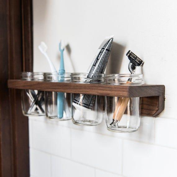 4 Mason Jar Wall Caddy Bathroom Shelf Hygge Kitchen Organization