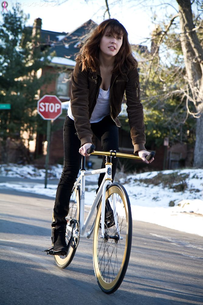 TheFiXFiXFiX » Nicky Braves the Cold for a Ride   Girls On Bikes   2012 Calendar