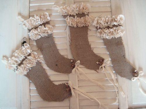DIY Ruffled Burlap Christmas Stockings!