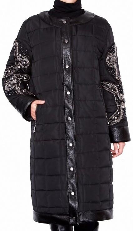 Black Embellished Sleeve Padded Coat