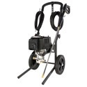 Campbell Hausfeld Prosumer 1850 PSI Pressure Washer. It's great for regular use in medium sized spaces- kennels, stables, shop floors; anywhere you need to do some serious cleaning but can't have exhaust fumes.    It pulls 15 amps, so it can still be plugged into a normal household outlet. The induction motor is heavier duty than the universal motors found in many small electric pressure washers and the pro-style cart makes it easy to move from place to place.
