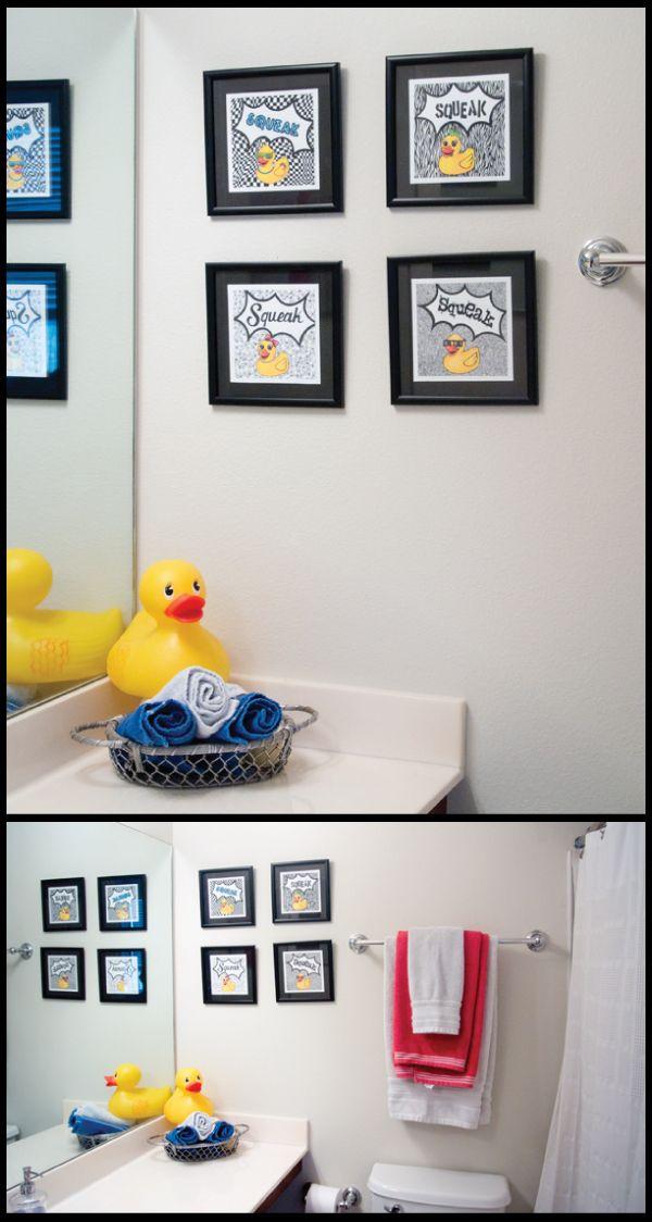 Rubby ducky bathroom prints 8 x8 set of 4 for Bathroom duck decor