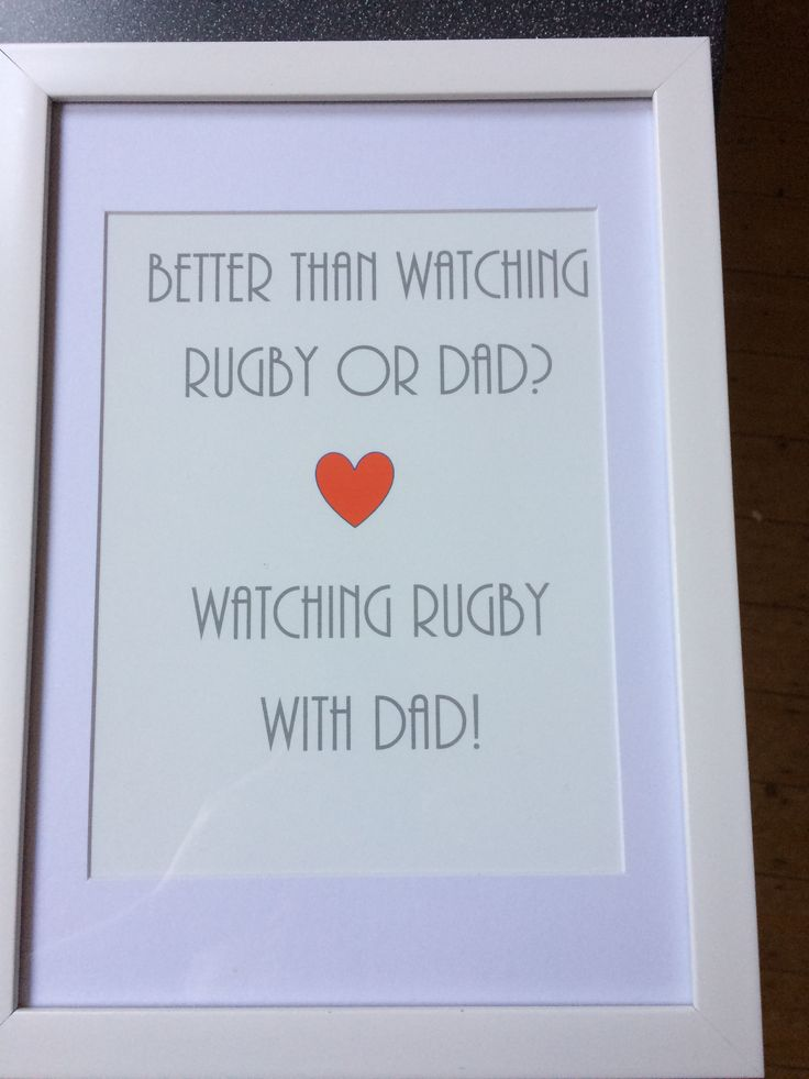 Watching rugby and Dad print