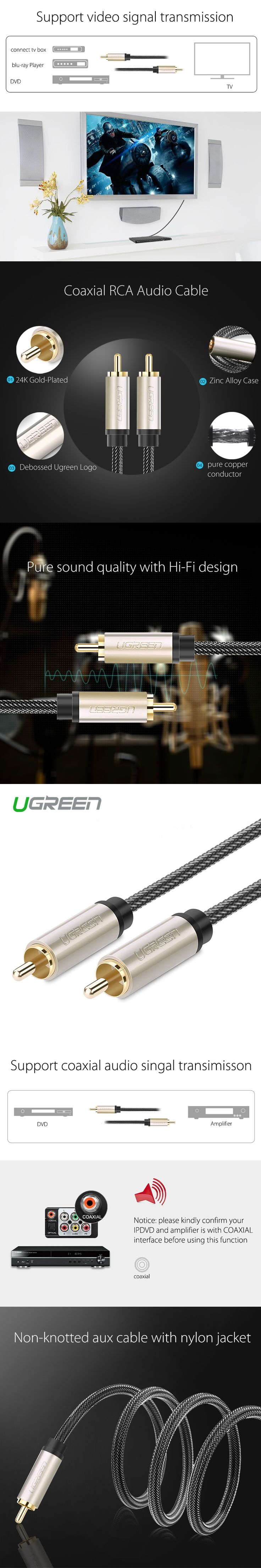 Ugreen AV133 audio cable coaxial SPDIF audio dvd subwoofer amp RCA video connection even 75 ohms