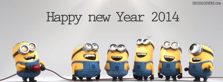 Minions Wishing Happy New Year 2014 | Minions New Year 2014 FB Cover for the timeline profile