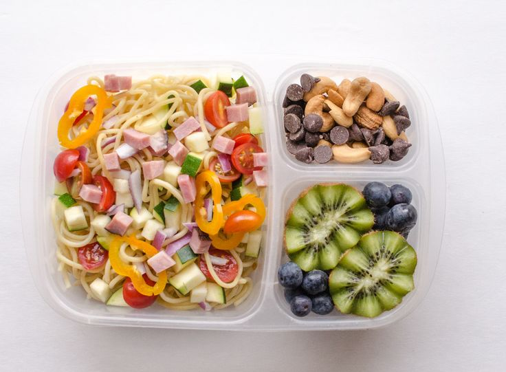 Easy Pasta Salad (leftover pasta + chopped zucchini/red onion/tomato/bell peppers/ham + salad dressing (roasted garlic, creamy Italian, and classic vinaigrette are awesome in this) Cashews + dark chocolate chips Kiwi + blueberries