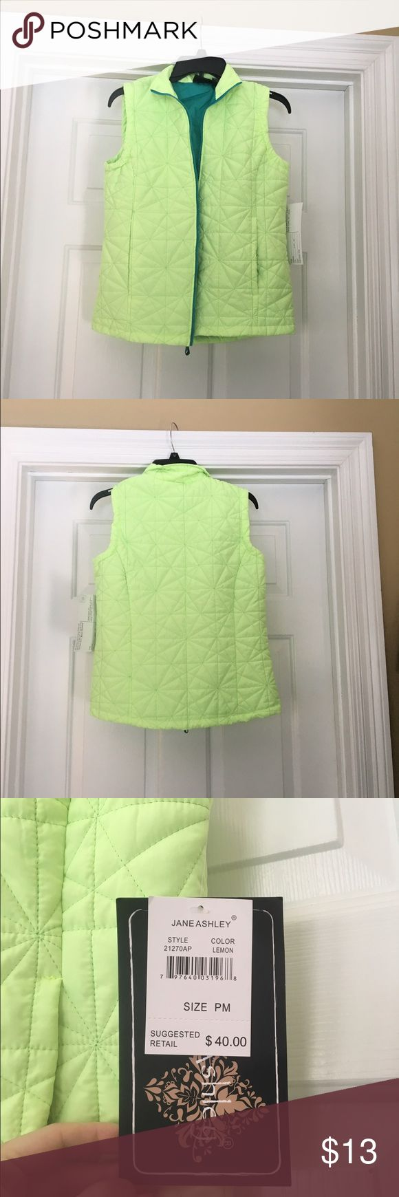 NWT Jane Ashley Light green zip up vest New with tags's and in excellent condition. Made by Jane Ashley and is a petite medium. Light green zip up the vest jane ashley Jackets & Coats Vests