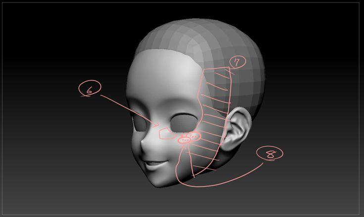 Anime Characters Zbrush : Zbrush anime head topology brush d pinterest