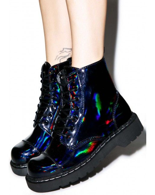 T.U.K. Dark Iridescent Anarchic 7 Eye Boots | Dolls Kill