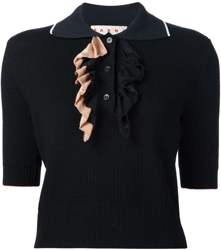 Marni perforated polo shirt