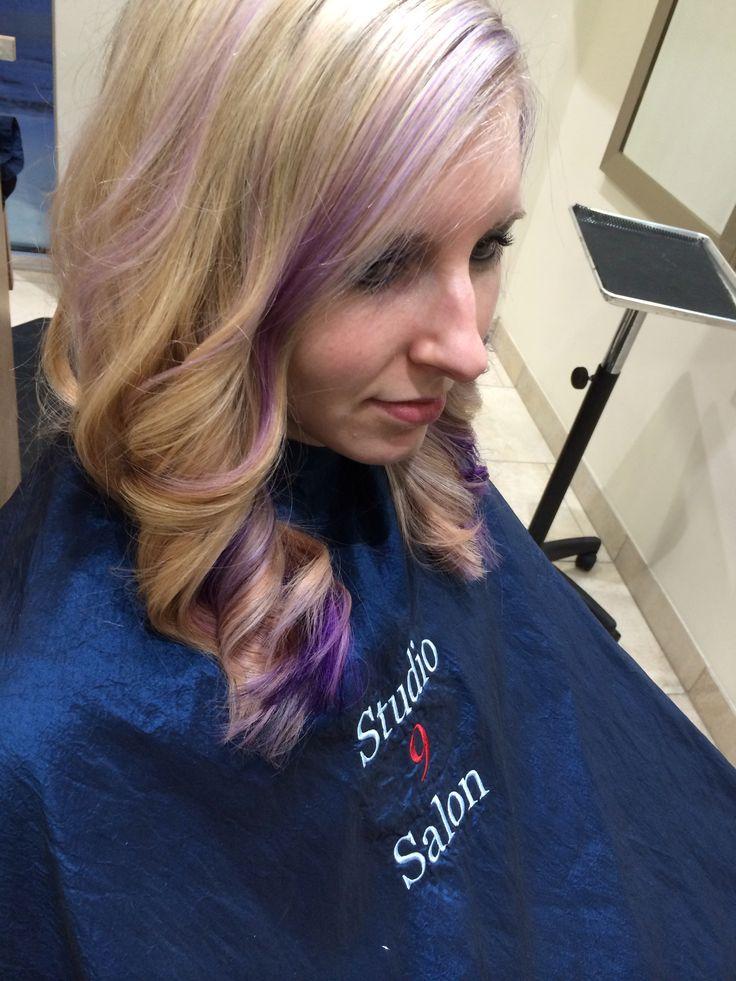 Lauren Lindner from studio 9 salon violet and lavender lowlights on a platinum base color