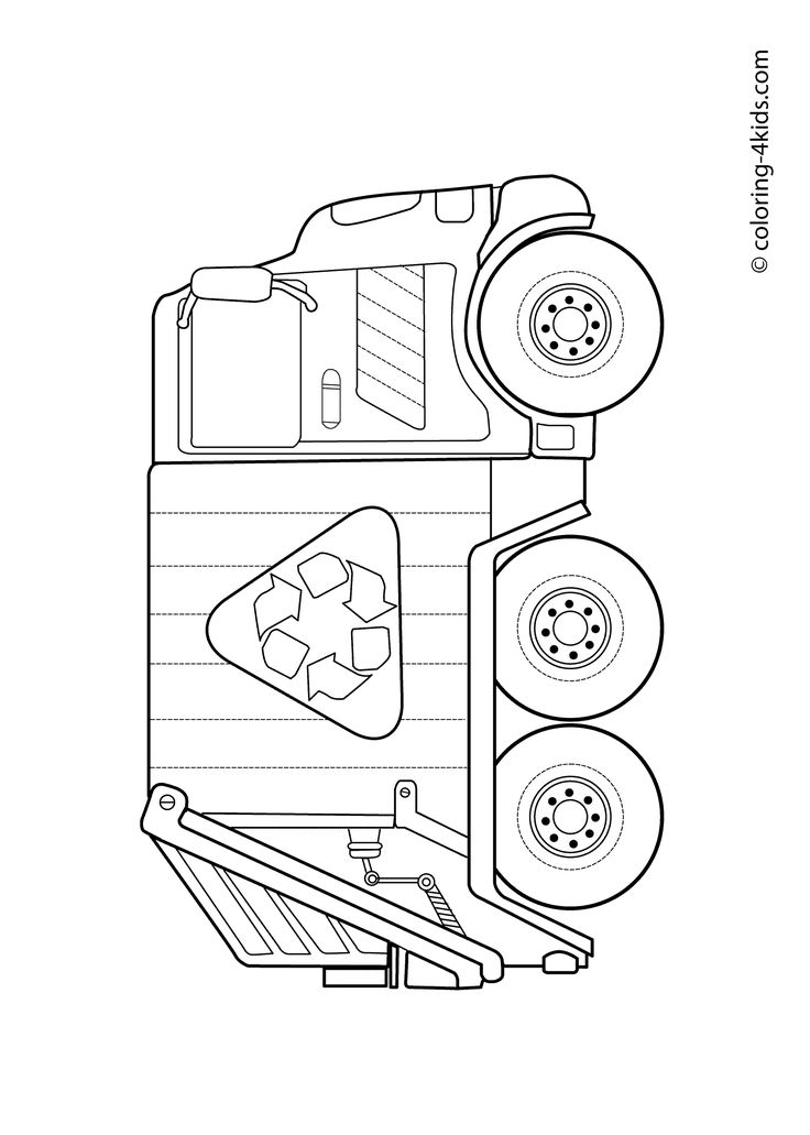 Garbage truck – Coloring pages for kids, grbtrck