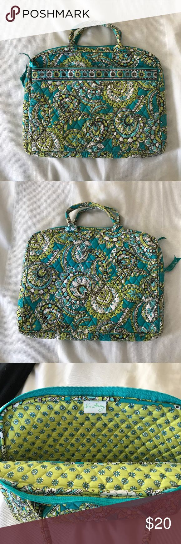 Vera Bradley Laptop Case Vera Bradley laptop case in teal, lime green and white.  Soft carrying case with 2 handles. Front zipper pocket perfect for charging cords. Vera Bradley Bags Laptop Bags