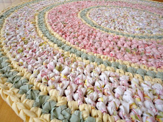 rag rug  round recycled pink crochet by resplendid on Etsy, $100.00