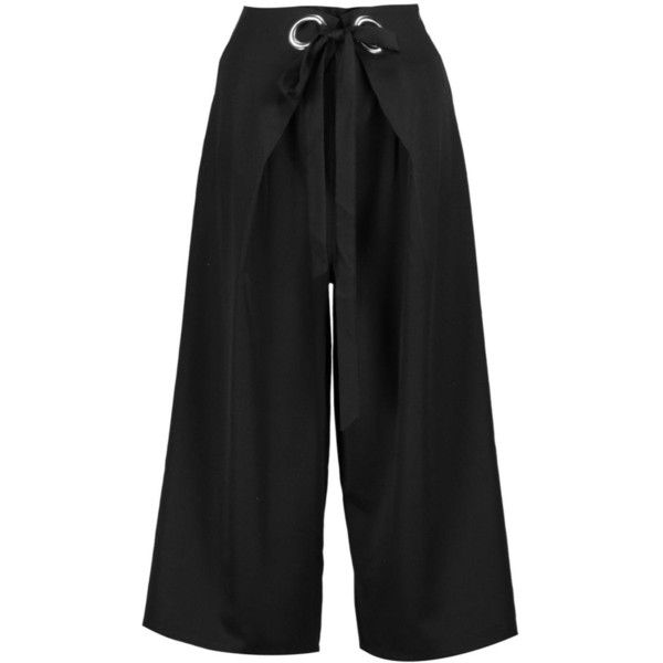 Boohoo Hannah Eyelet Detail Woven Wide Leg Culottes (52 MYR) ❤ liked on Polyvore featuring pants, palazzo trousers, sport pants, woven pants, tapered trousers and sports trousers