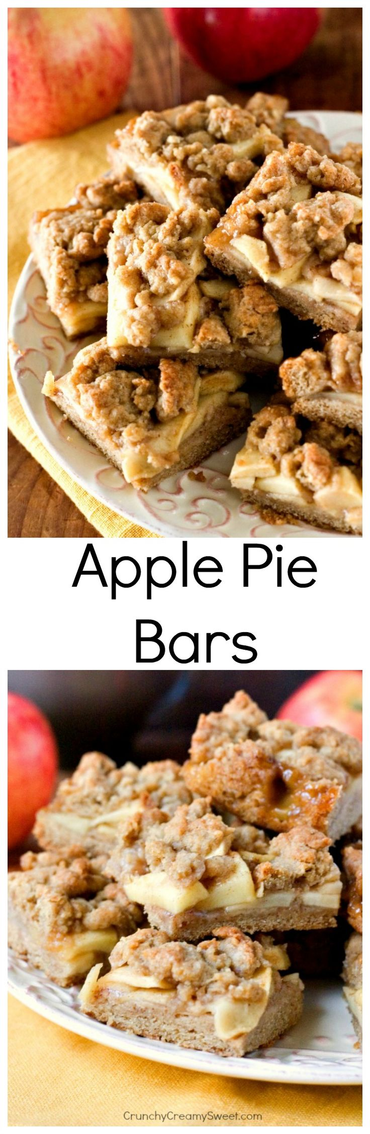 Apple Pie Bars - easy apple dessert made with brown sugar crust and topping and cinnamon sugar coated apple slices. You will love how delicious these bars are!