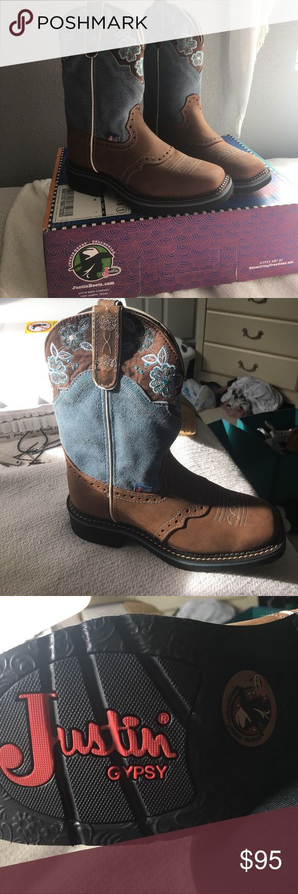 Justin Boots pair of cow girl boots NEVER worn! Brand new cow girls boots never worn, still in original box. Brown and blue embroidered flower collar. Style number L9950 size 6. Justin Boots Shoes