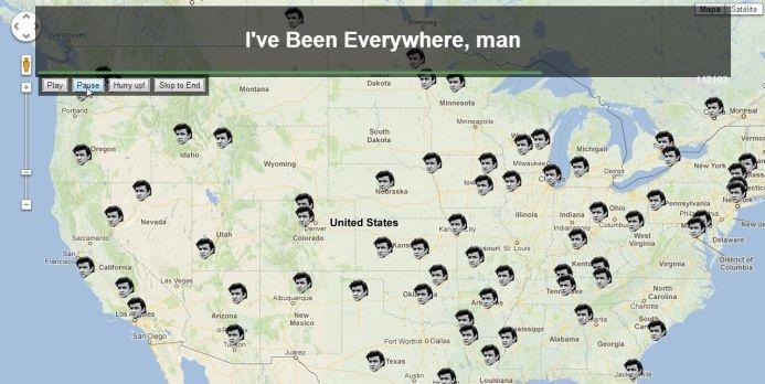 """""""I´ve Been Everywhere, man"""".  Pues bien, aprovechando la temática de esa canción, el desarrollador web Iain Mullanha creado un site en el que podemos ver en Google Maps todos los sitios en los que el bueno de Johnny ha estado, eso sí, al ritmo frenético al que el cantante los va narrando"""