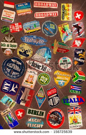 Travel stickers on the leather texture by Zarya Maxim Alexandrovich, via Shutterstock
