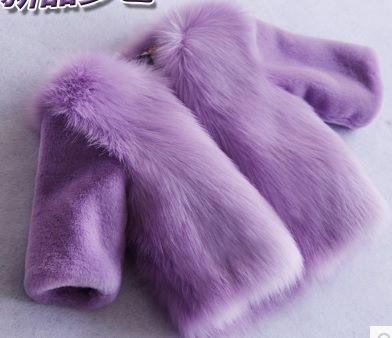 ピンクの赤ちゃんの女の子白いフェイクファーのコート幼児フェイクファーのジャケット幼児の女の子のコートキツネの毛皮コート子供シャギー毛皮ジャケット子(China (Mainland))