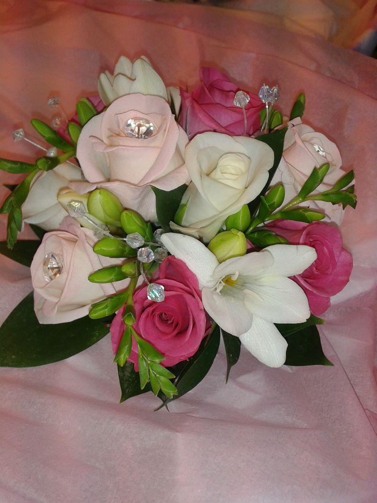 roses and fressia bridesmaid handtied wedding bouquet www.flowerartbycatrin.com llanelli wales