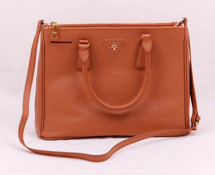 Кожаная сумка Prada Saffiano S коричневая