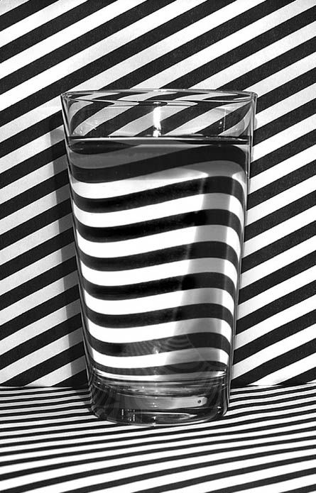 "... if a lady chooses not to drink alcohol, she does not impose her decision on other people.  If she is offered a glass of wine, she simply says, ""No, thank you, but I would love some ginger ale.""  She offers no further explanation ... Candace Simpson-Giles: Water, Inspiration, Pattern, Art, Glass, Black White, Stripes, Photography, Optical Illusion"