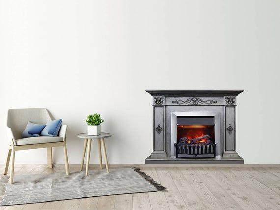 Fireplace Poster Grey Wood Fireplace Decal Fireplace Print Wall