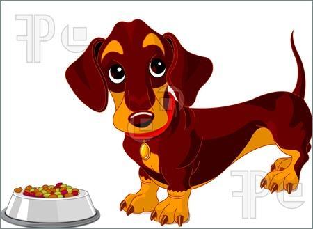 Illustration of Cute dachshund dog near bowl of dog food