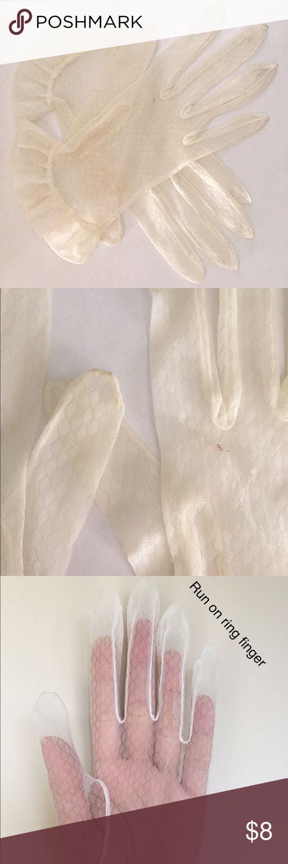 """Adorable 1950s Vintage Sheer cream Gloves 1950s  sheer cream organza gloves I wish these fit me!! Lovely little ruffle at the wrist (which has a little give) Condition: good-fair ; has some runs as shown and a few marks; haven't been soaked; still wearable with caution Measurements: best for a small ish hand; 2 7/8"""" across knuckles; 8 1/2"""" mid finger to cuff; 3"""" middle finger; 2 1/2"""" wrist opening with a little stretch Vintage Accessories Gloves & Mittens"""