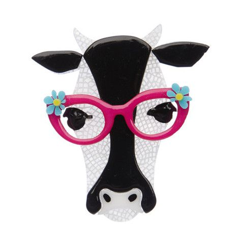 """Erstwilder Limited Edition Hippy Hilda Heifer Brooch. """"This beautiful bovine loves literature so much she asked us if she could write this story herself. We're thinking about it."""""""