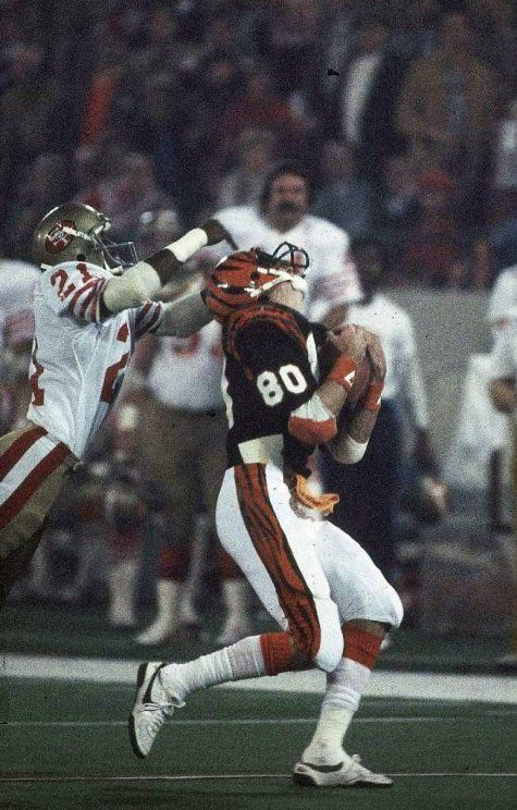 super bowl xvi 49ers eric wright 21 in action vs bengals cris collinsworth
